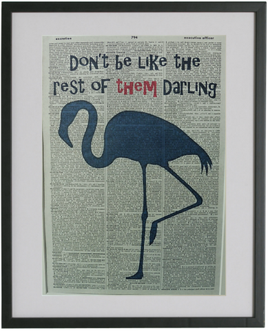 Blue Flamingo Quote Wall Art No.304, inspirational