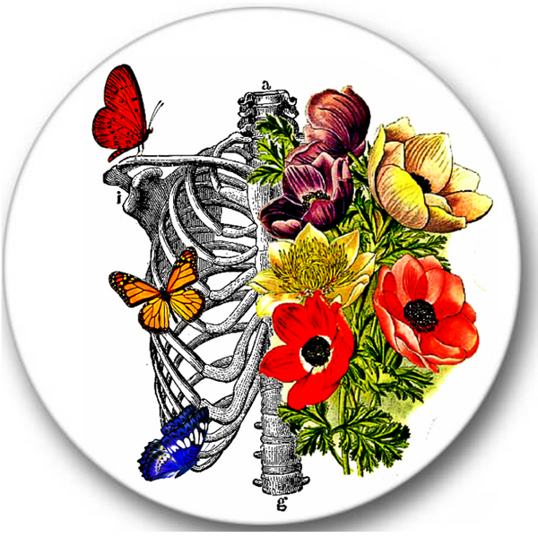 Rib Cage and Flowers Sticker Seals No.181