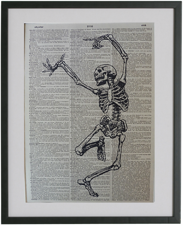 Skeleton Dancing Wall Print No.350, gothic