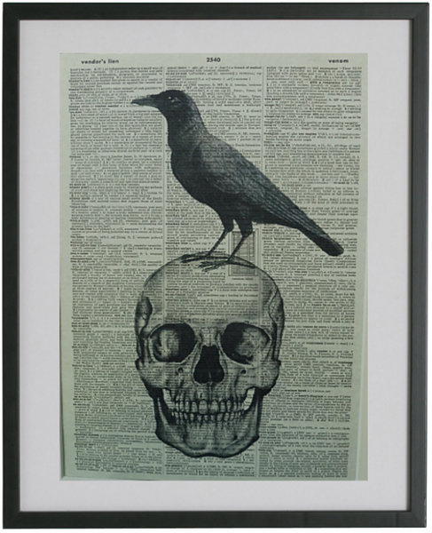 Skull and Crow Print No.316, gothic