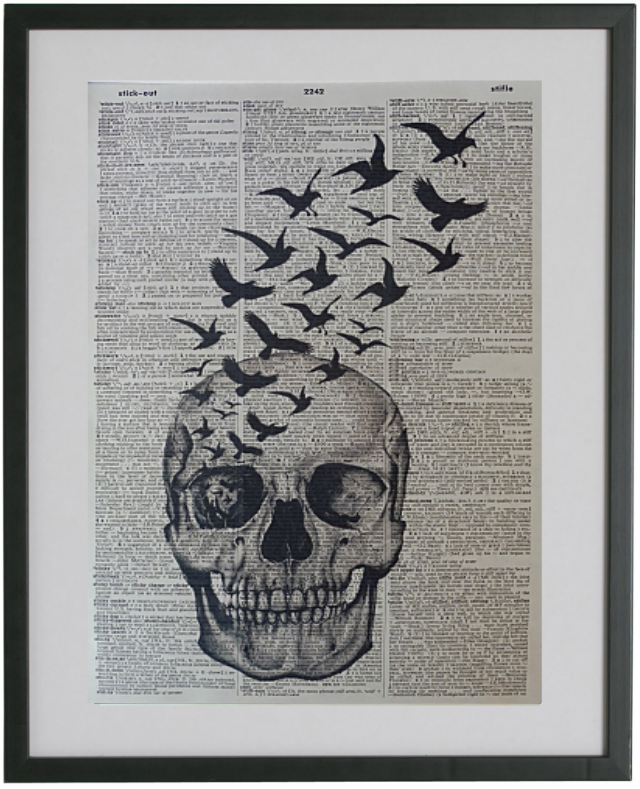 Skull with Black Crows Print No.311, gothic