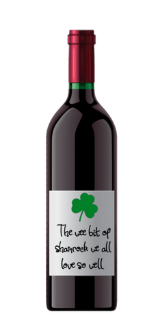 St. Patrick's Day Shamrock Wine Label No.995