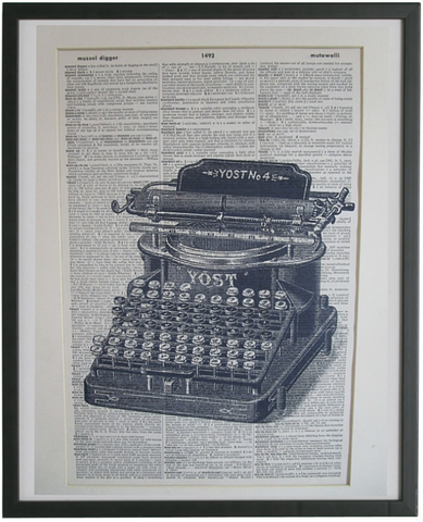 Typewriter #2 Wall Art No.244, vintage equipment