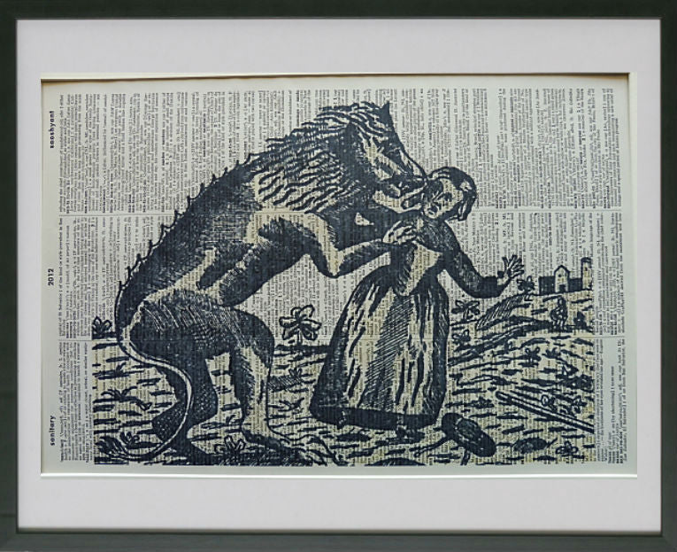 Werewolf Attacking Girl Wall Art Print No.637, gothic