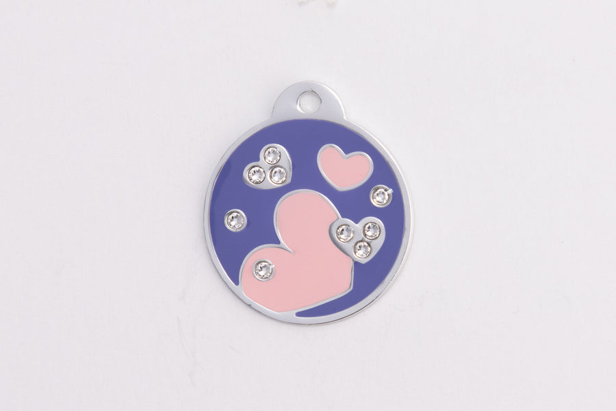 GS105 Swarovski Round with Hearts Tag