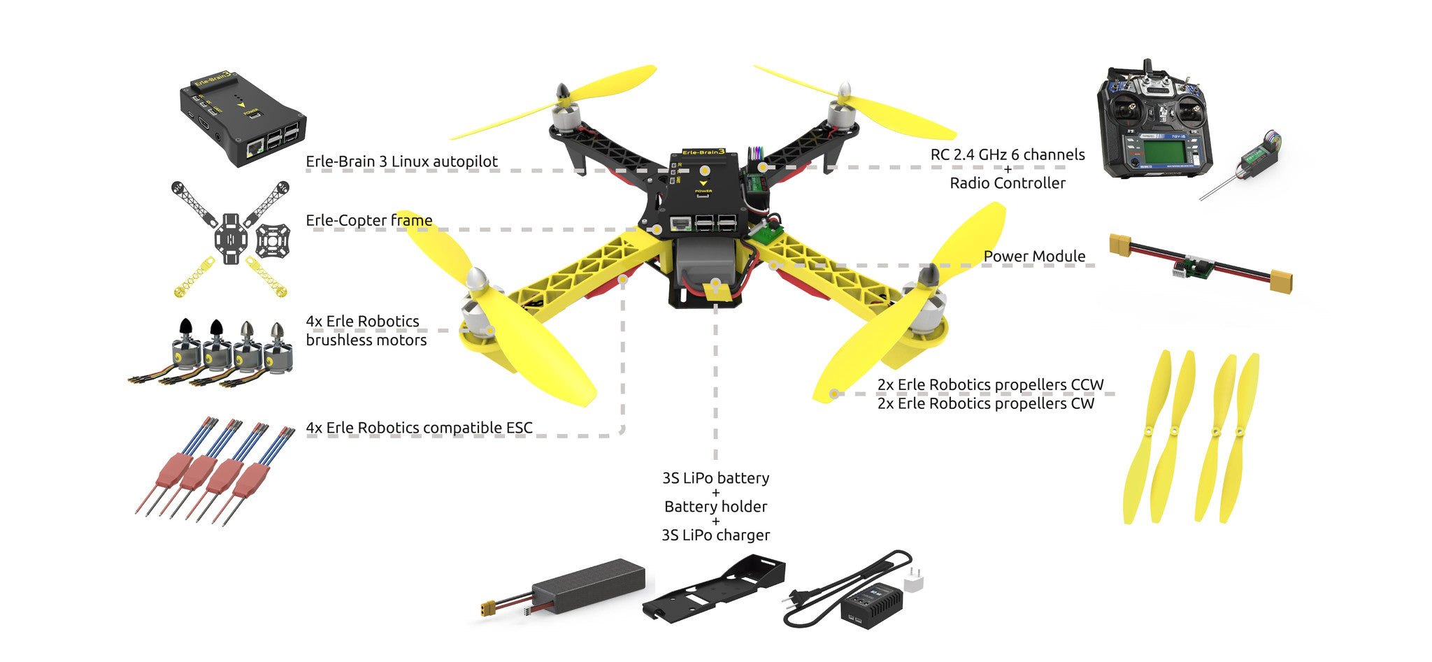 Erle copter drone kit dabit industries 1x 5500 mah 3s lipo battery 1x 3s lipo charger rc 24 ghz 6 channels includes transmitter and receiver solutioingenieria Images