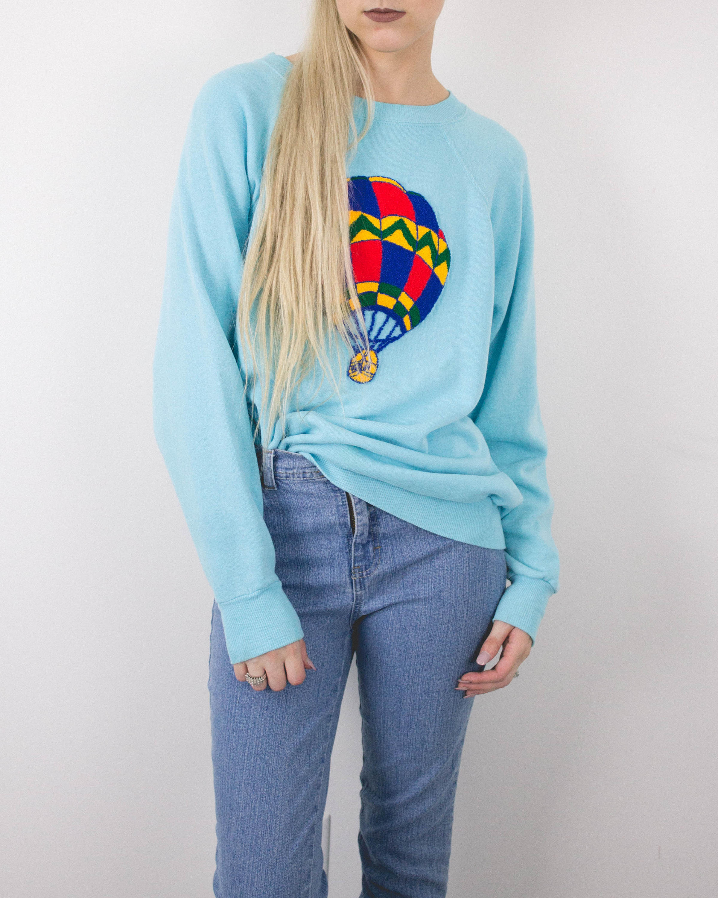 Vintage Teal Hot Air Balloon Embroidery Sweatshirt