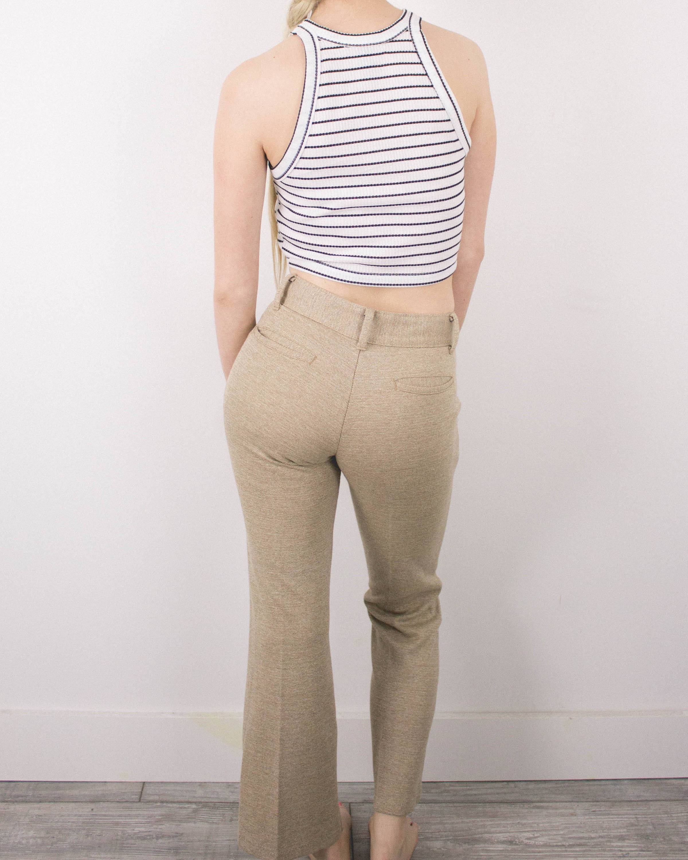 Vintage 24/25 Khaki Bell Bottoms High Waisted Jeans