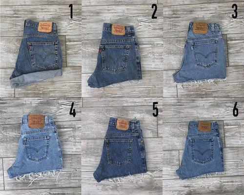 YOU PICK- All Sizes - Levis Vintage High Waisted Denim Shorts / 505s 501s 550s Levi Strauss Blue Rolled Frayed High Waisted Shorts