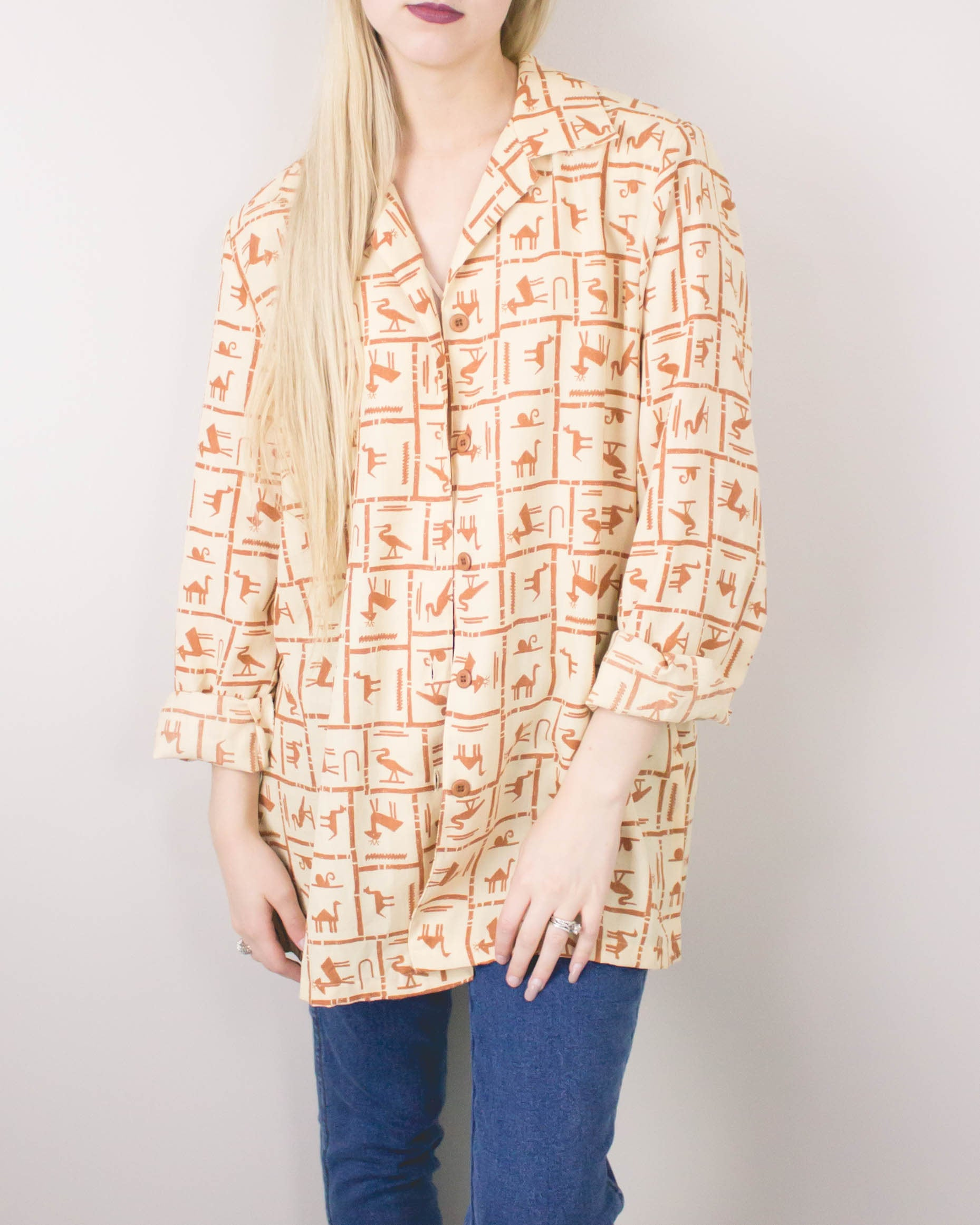 Vintage Ethnic Button Up Blouse