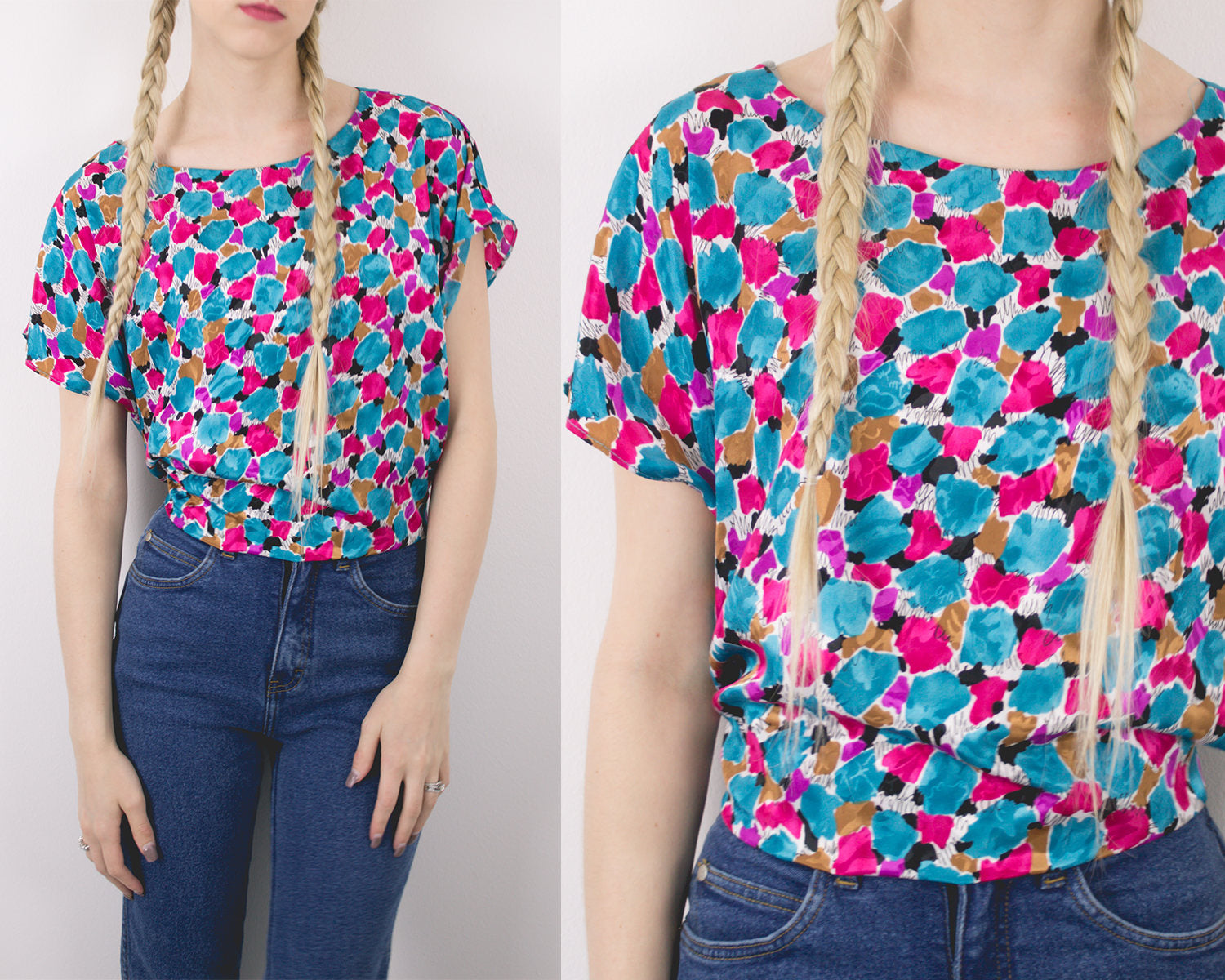 Vintage Colorful Floral Flowy Top