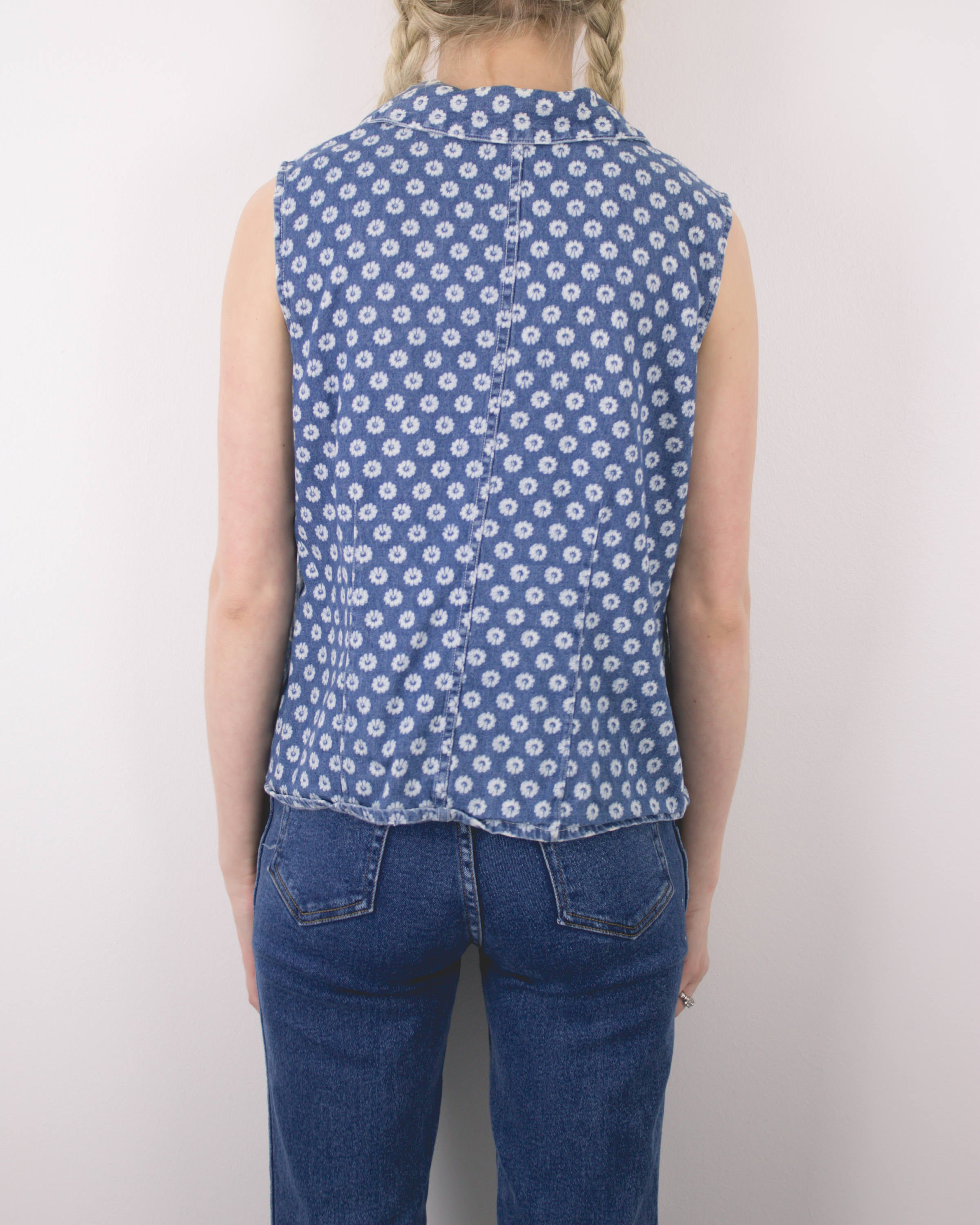 Vintage Daisy Denim Sleeveless Blouse