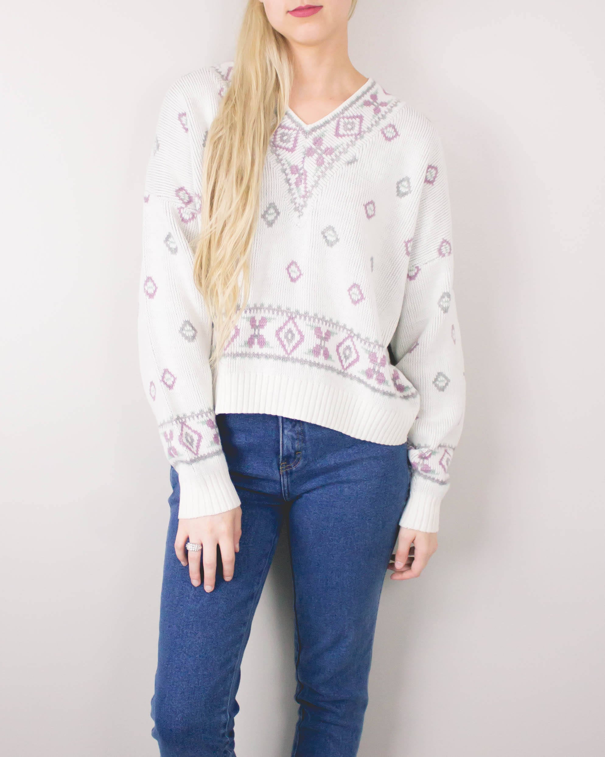 Vintage Cropped Pastel Sweater