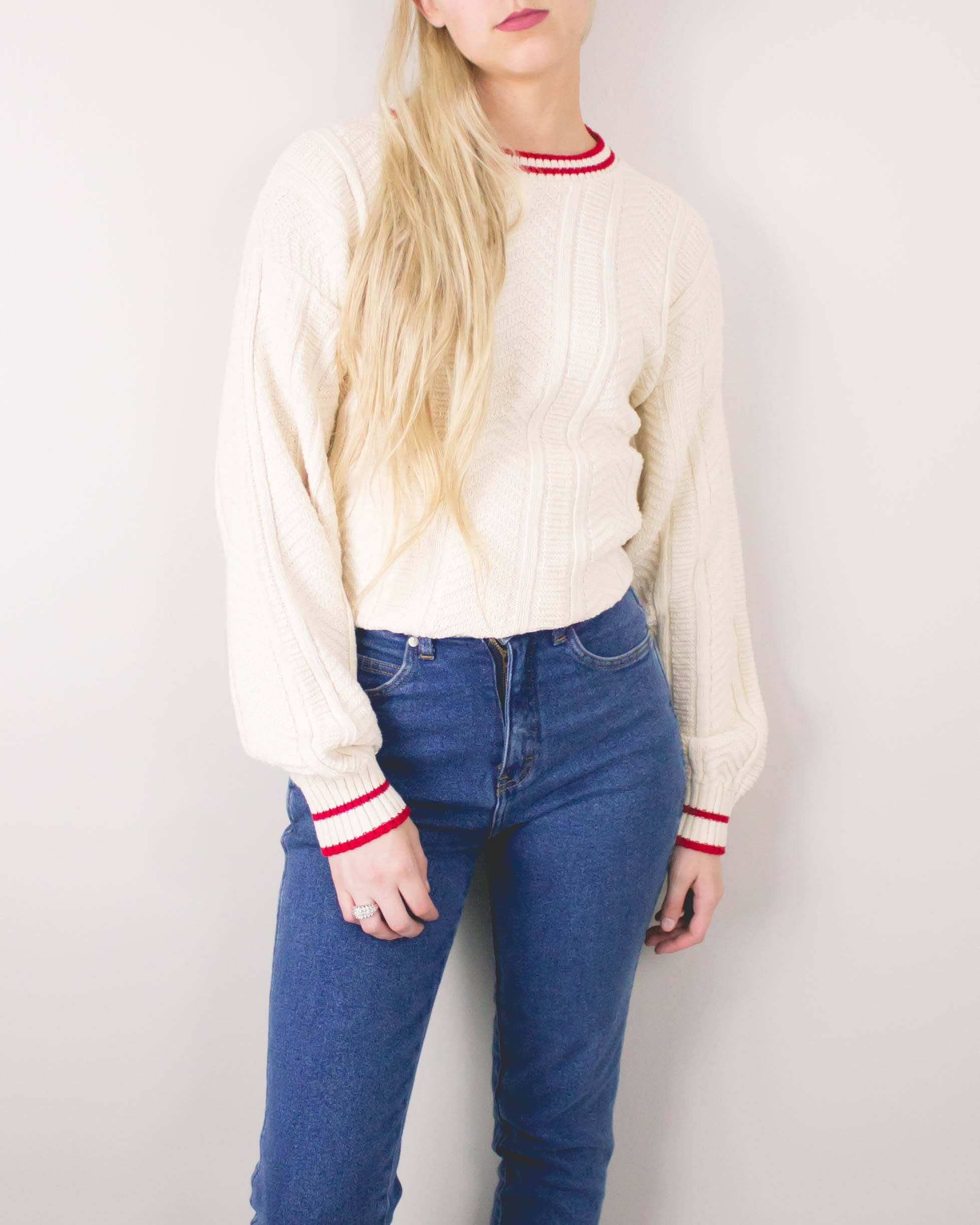 Vintage White Cable Knit Sweater