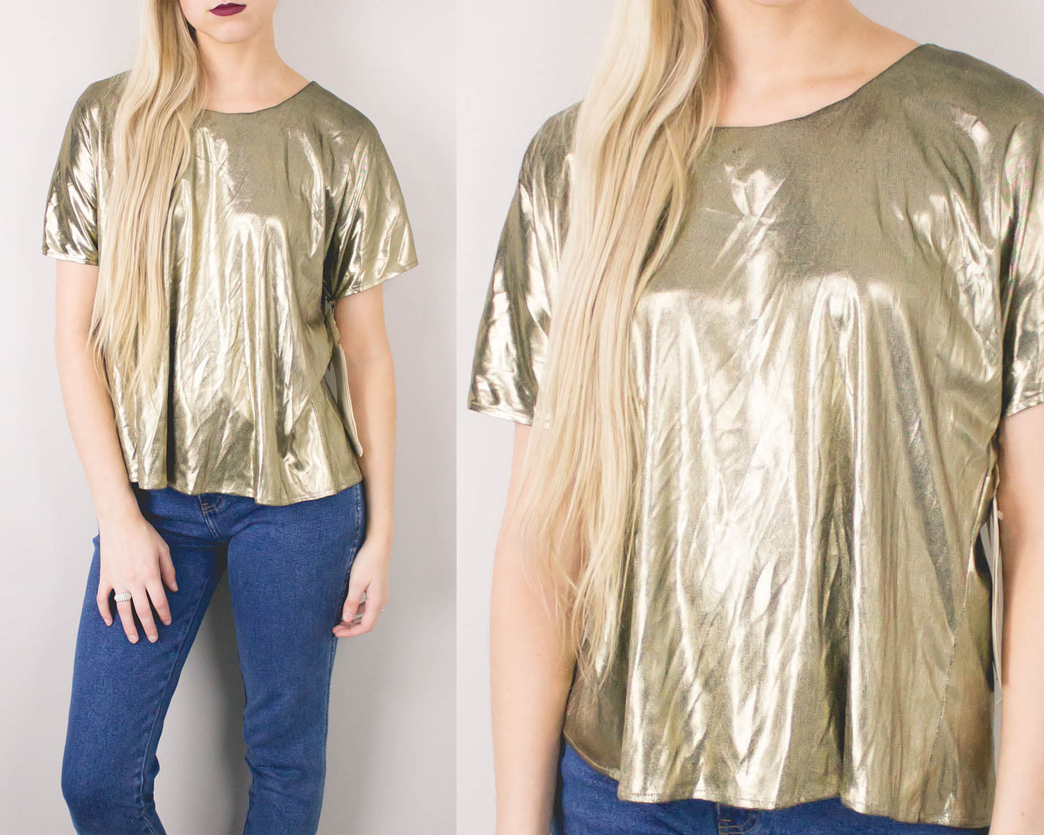 Vintage Gold Metallic Blouse