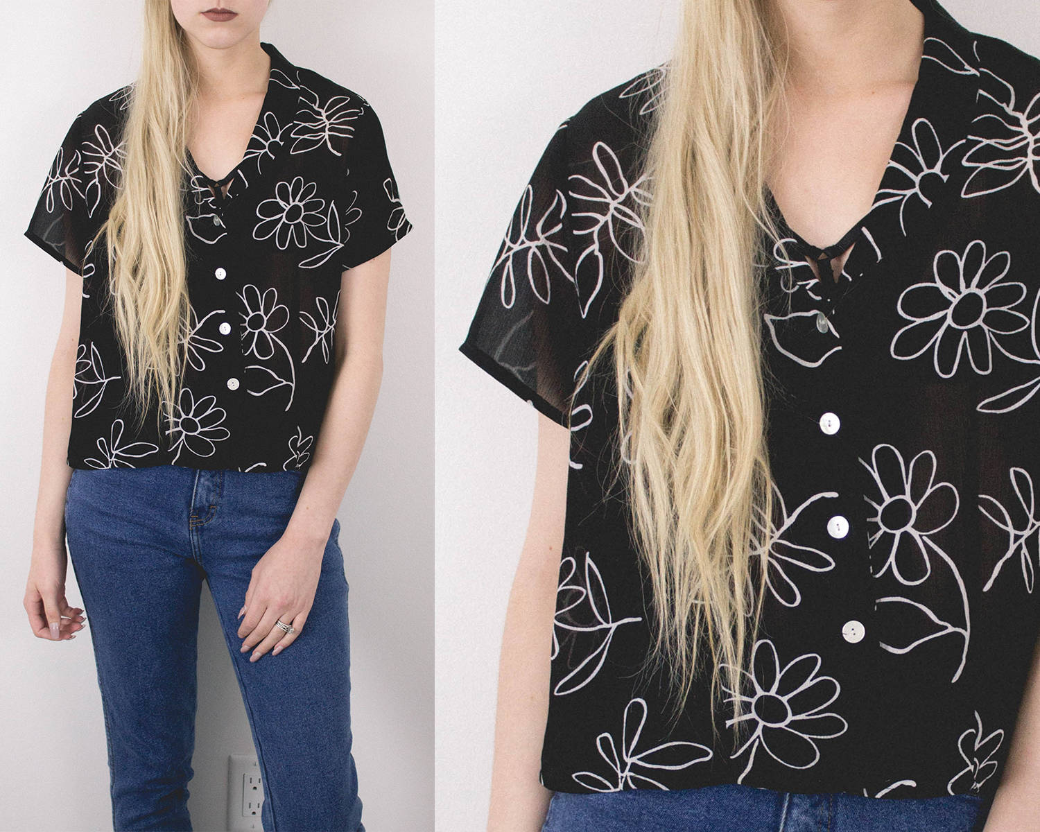 Vintage Sheer Black Floral Blouse