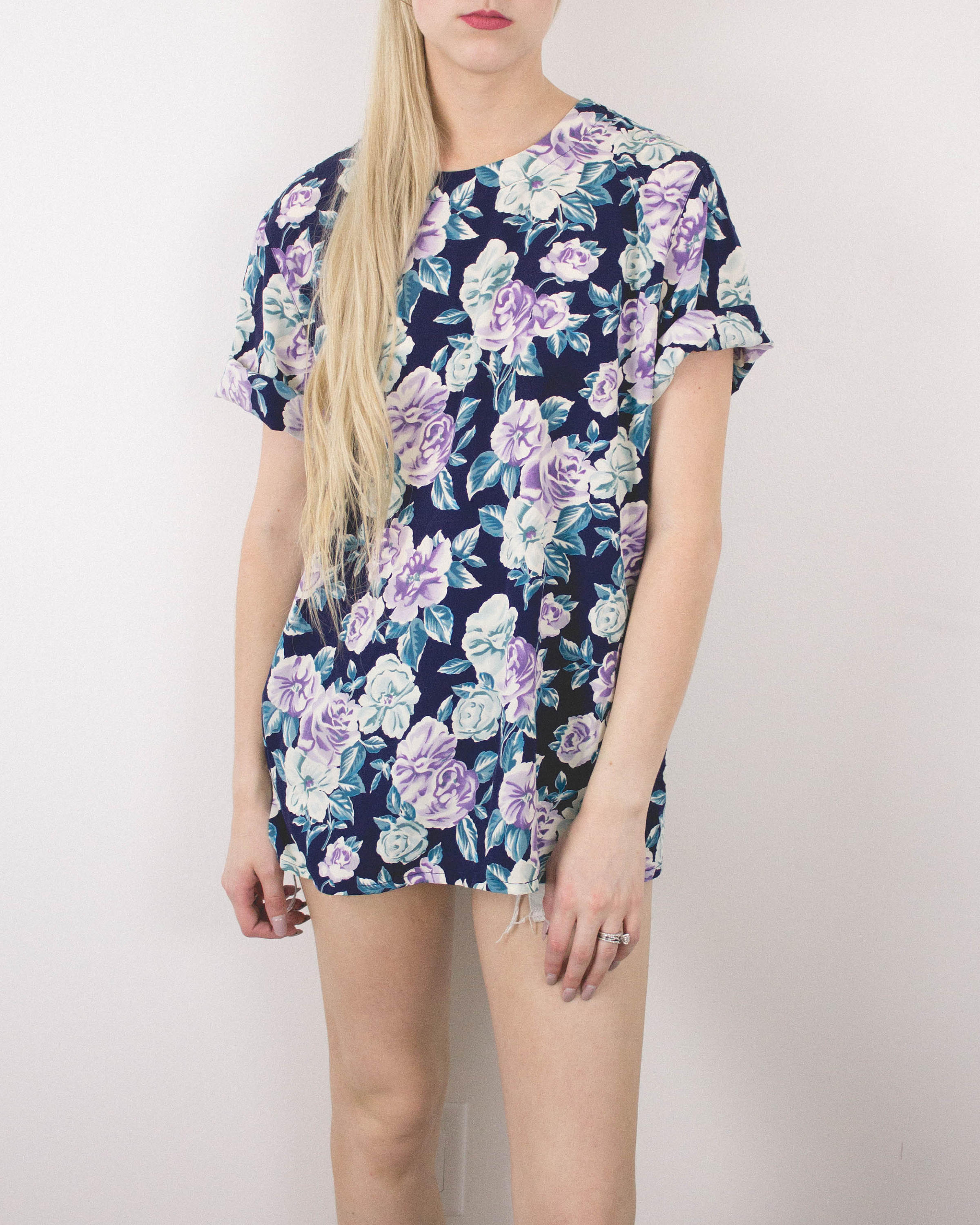 Vintage Navy And Lavender Floral Blouse
