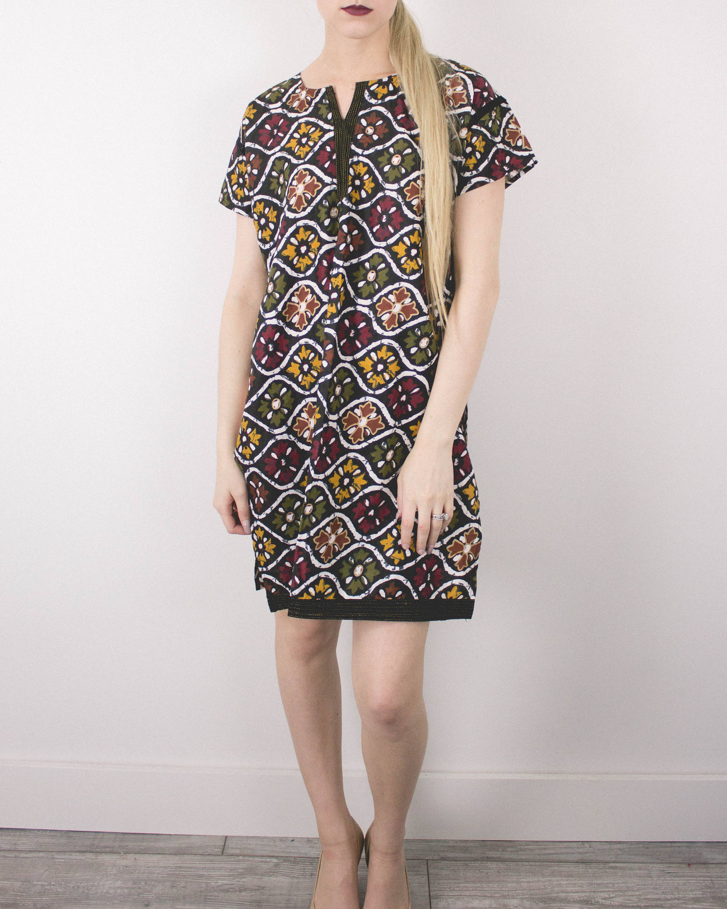 Vintage Ethnic Abstract Mini Dress