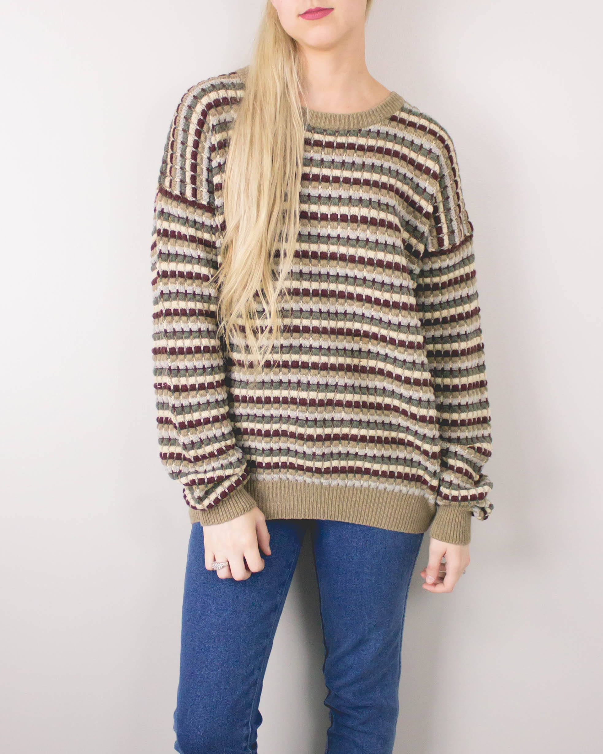 Vintage Neutral Striped Sweater