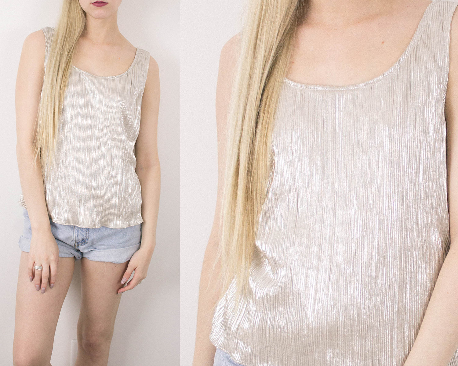 Vintage Silver Metallic Sleeveless Blouse