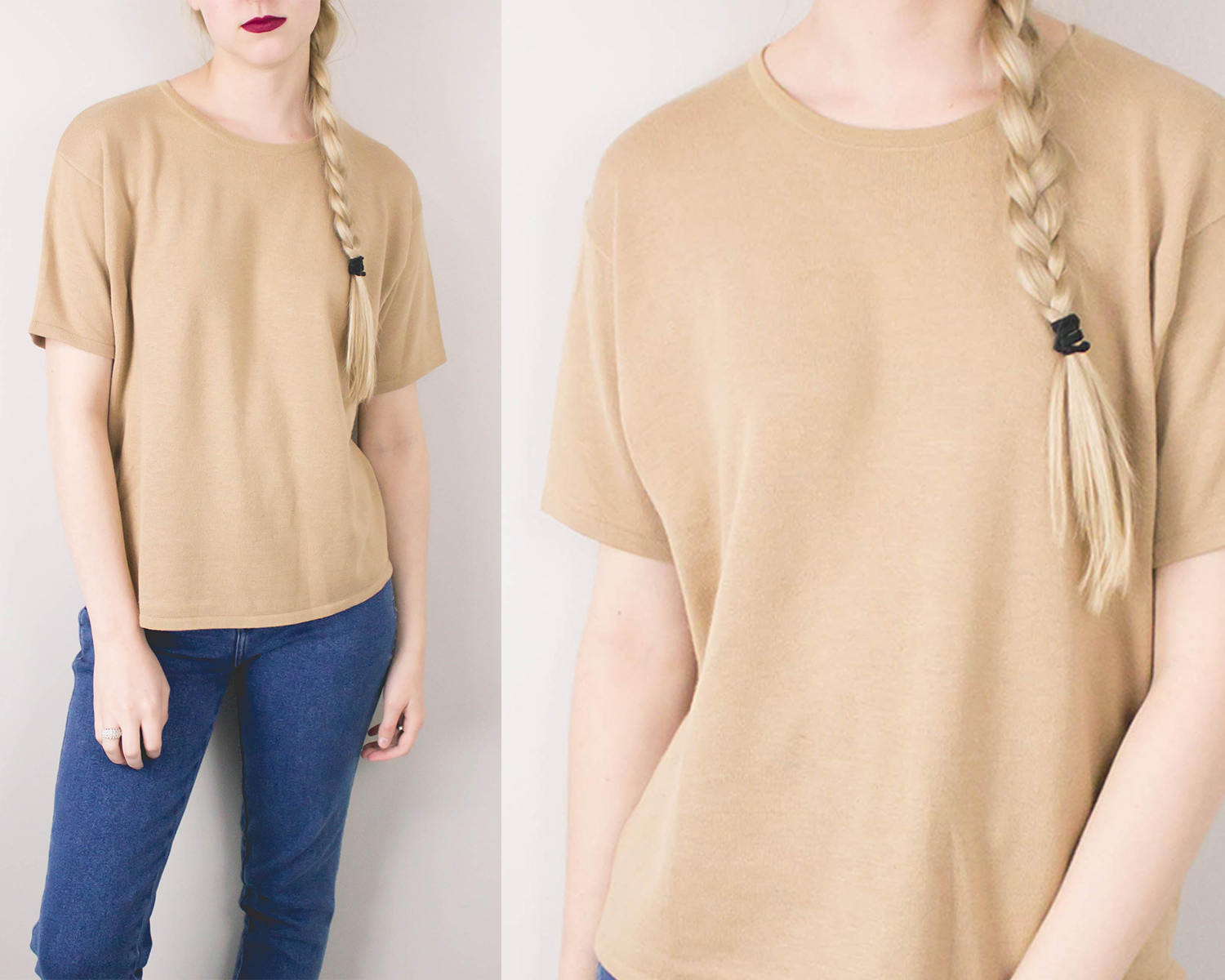 Vintage Nude Loose Knit Blouse
