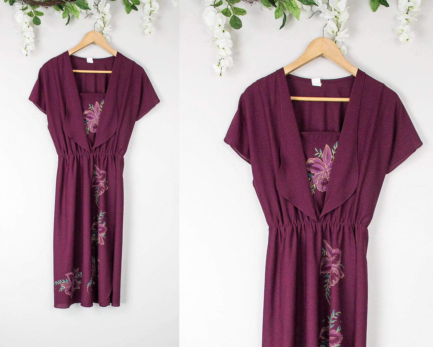 Vintage 70s Maroon Hippie Floral Dress