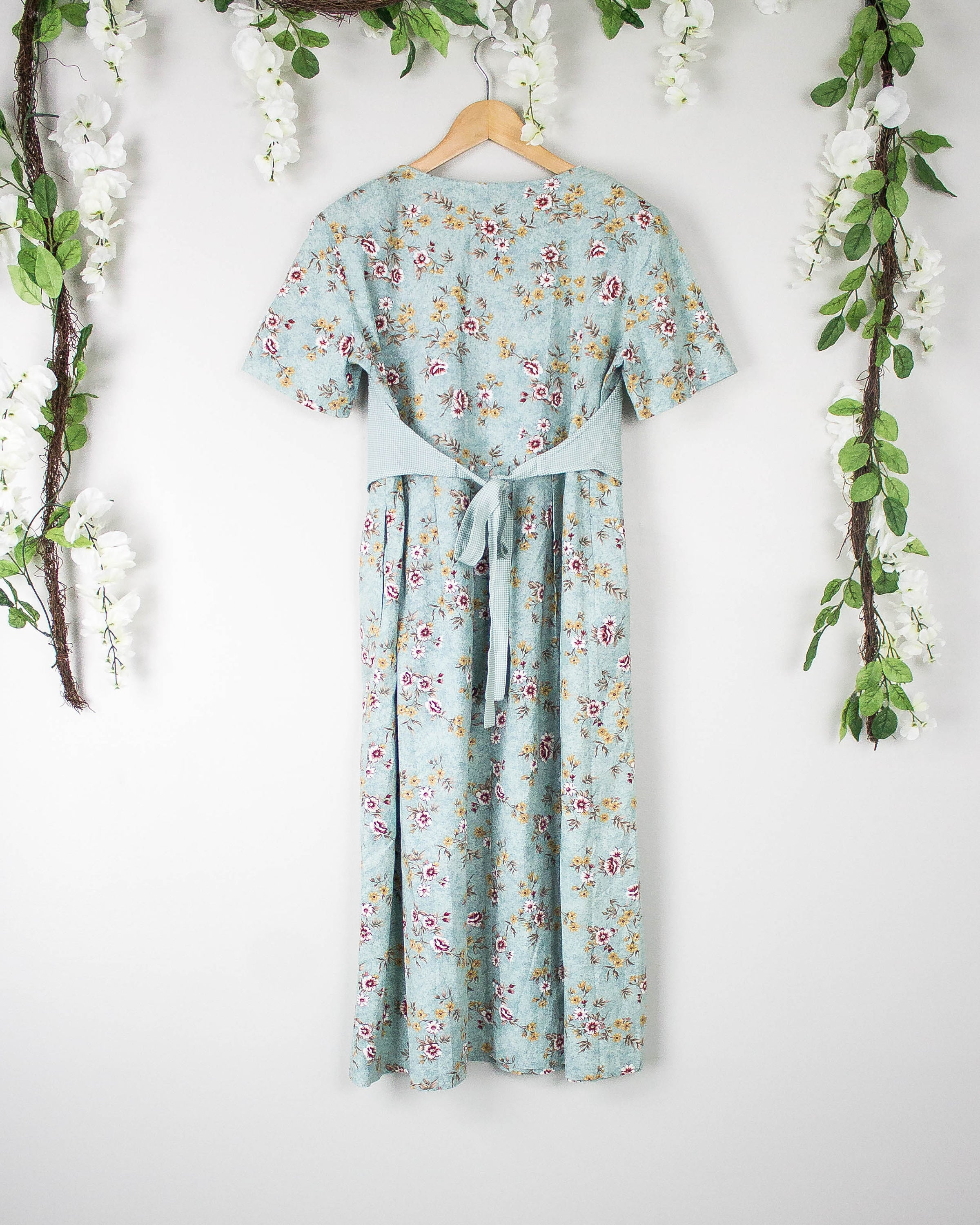 Vintage Blue Peasant Floral Vest Dress