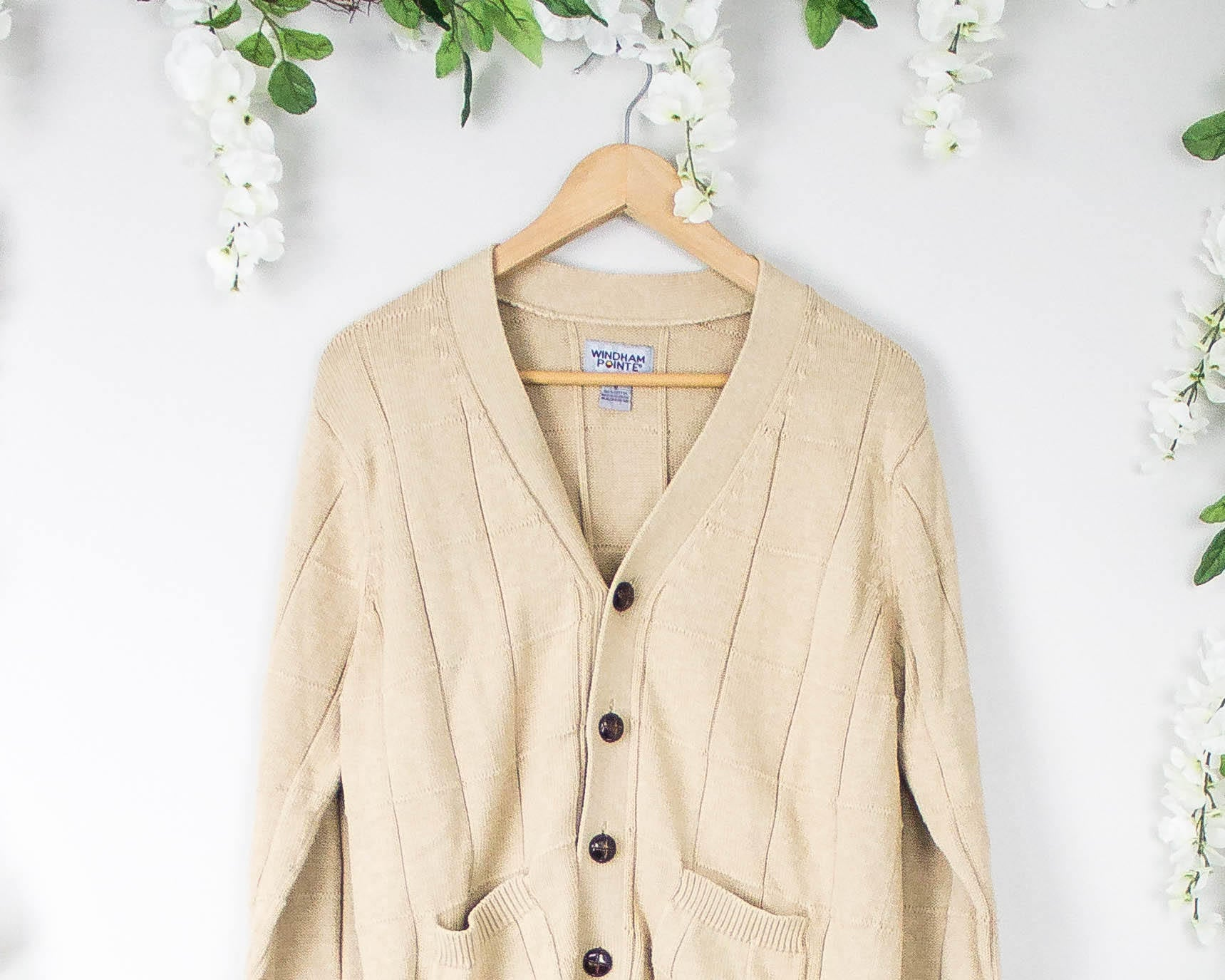 Vintage Nude Cardigan Knit Sweater