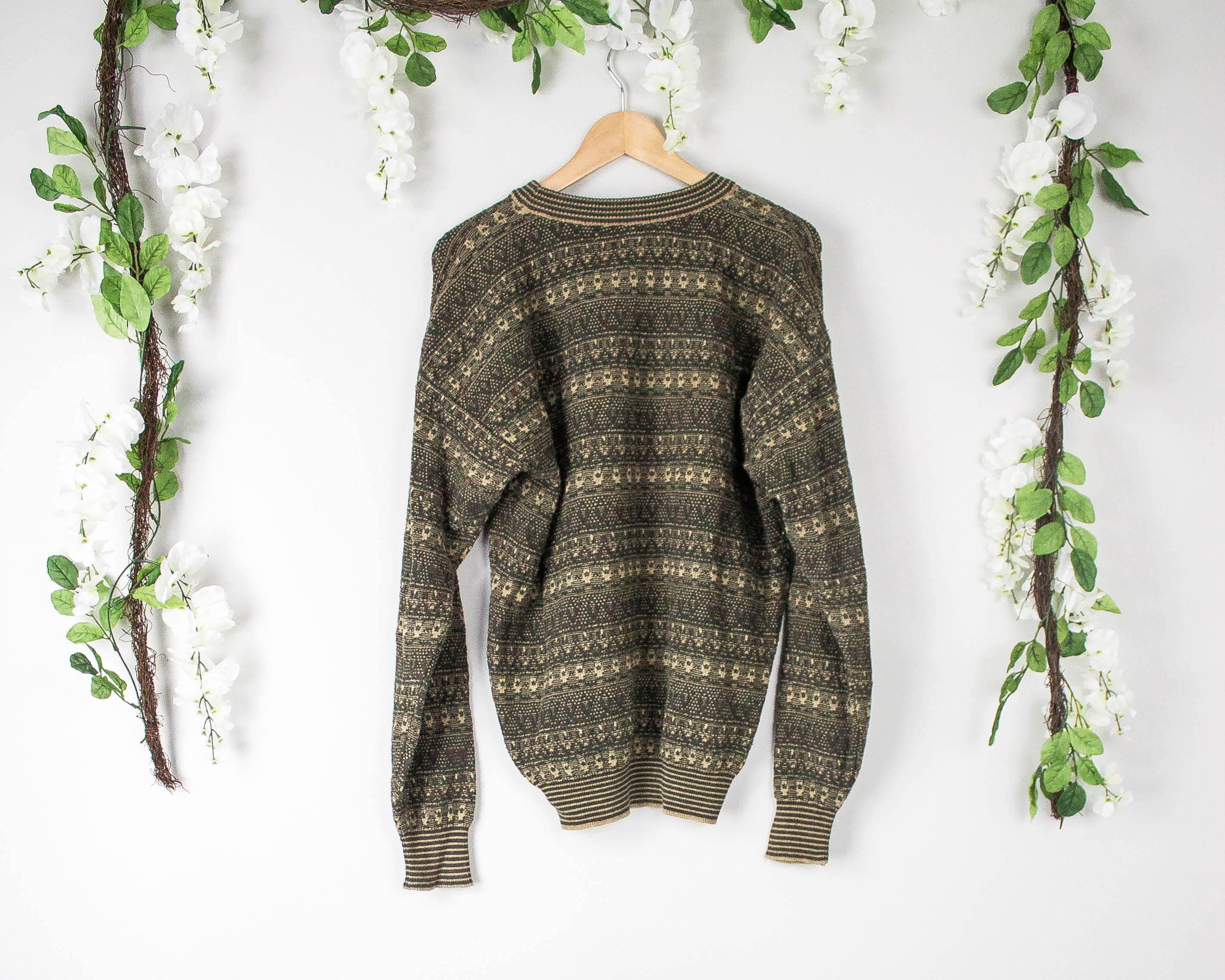 Vintage Army Green Aztec Sweater