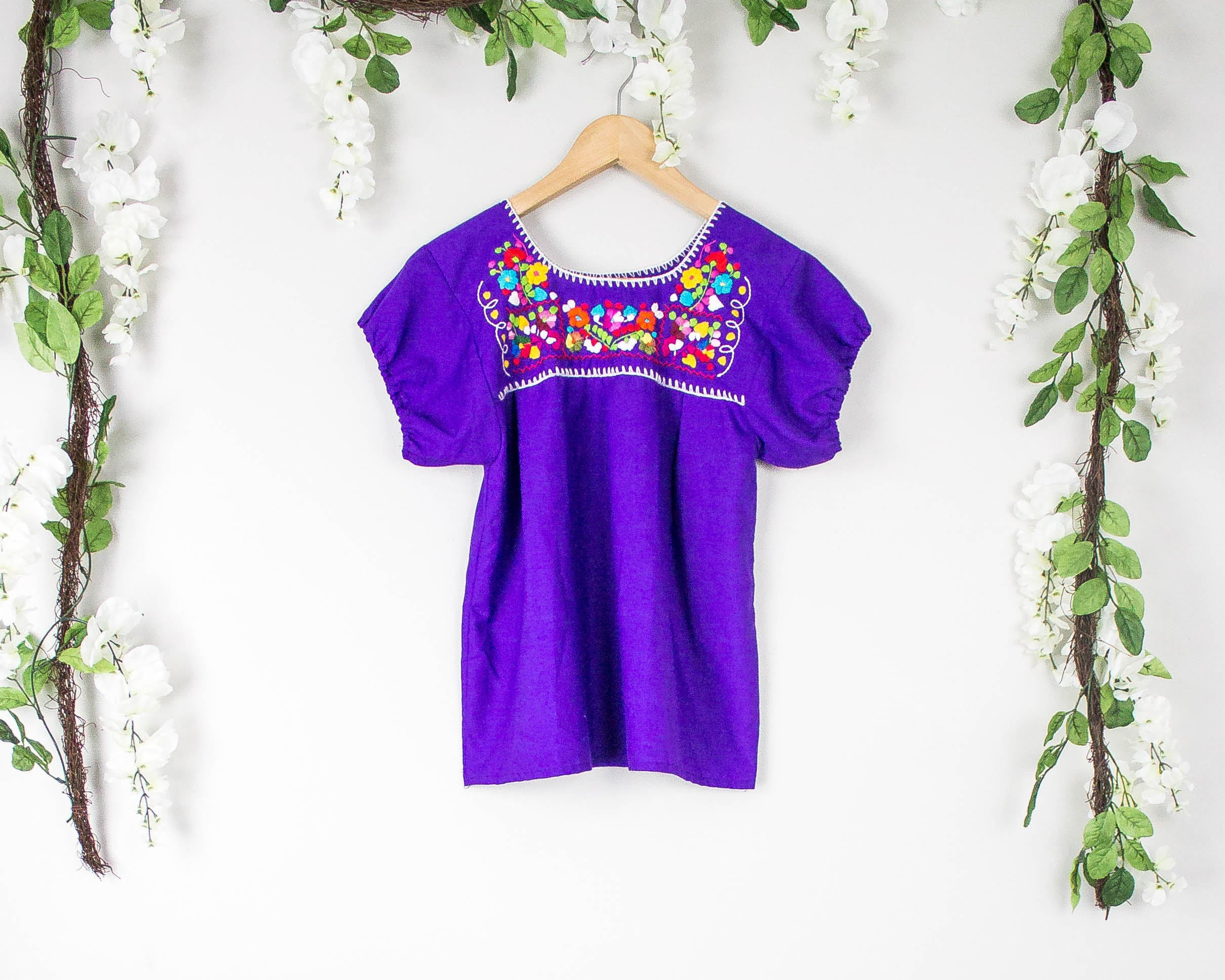 Vintage Mexican Embroidered Purple Blouse