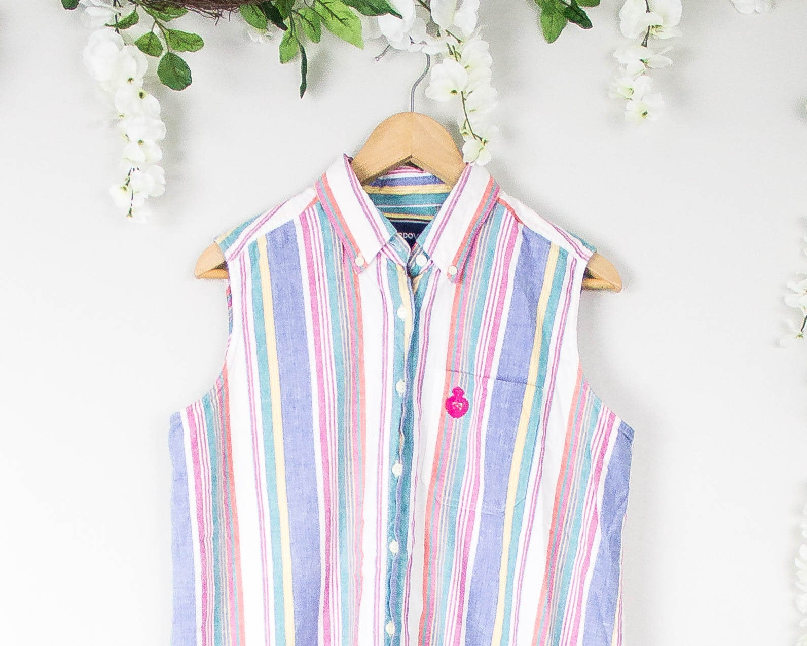 Vintage Striped Sleeveless Blouse