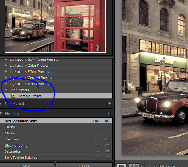 Lightroom preset appears under user presets.