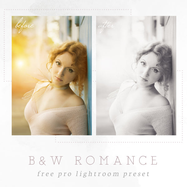 Black and white romantic Lightroom preset