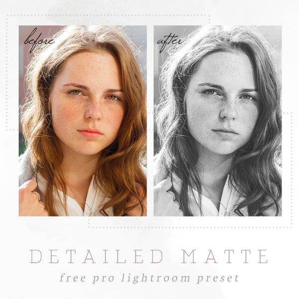 Black & white portraits matte Lightroom preset