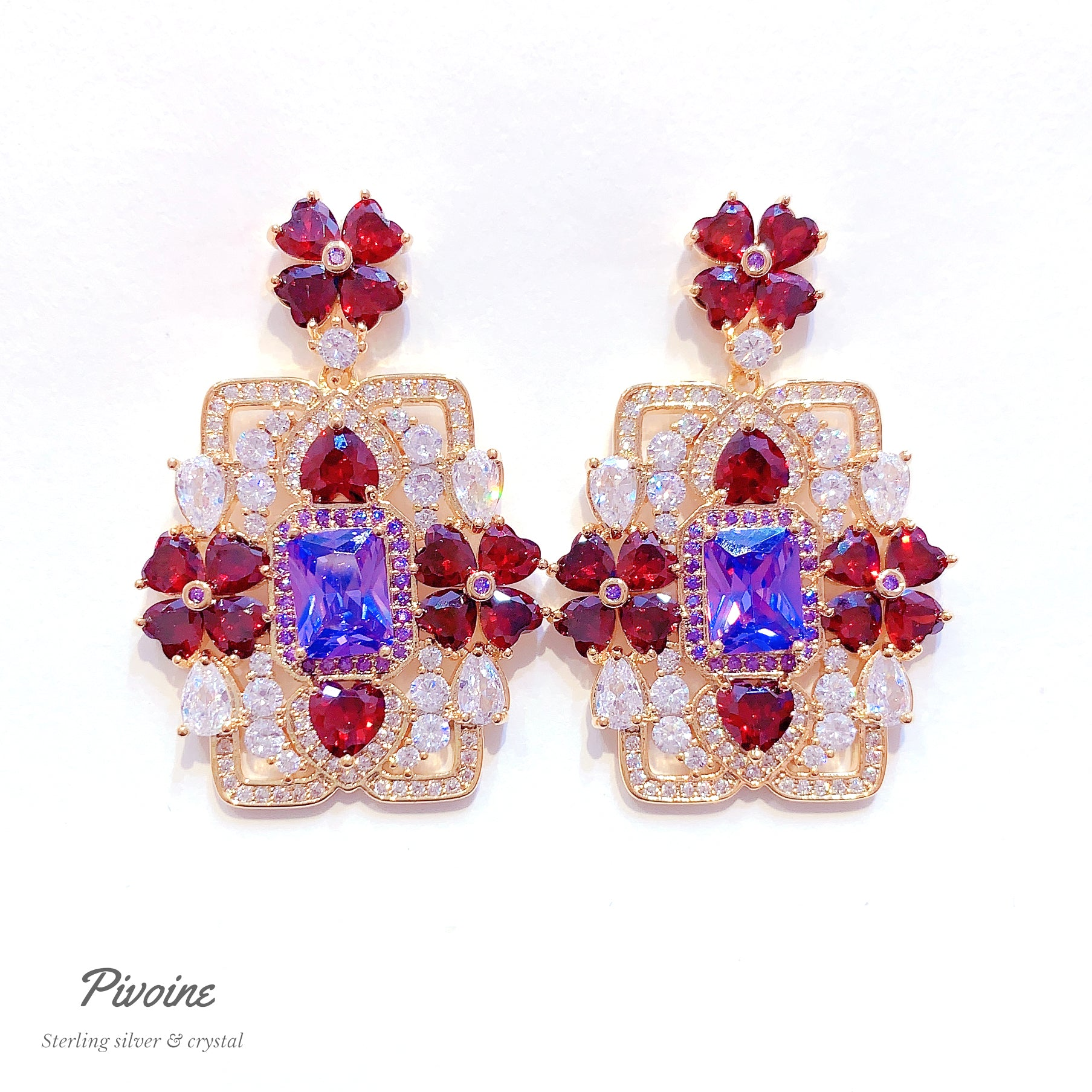 Pivoine Milano Sterling Silver and Crystal Bridal Earrings 115