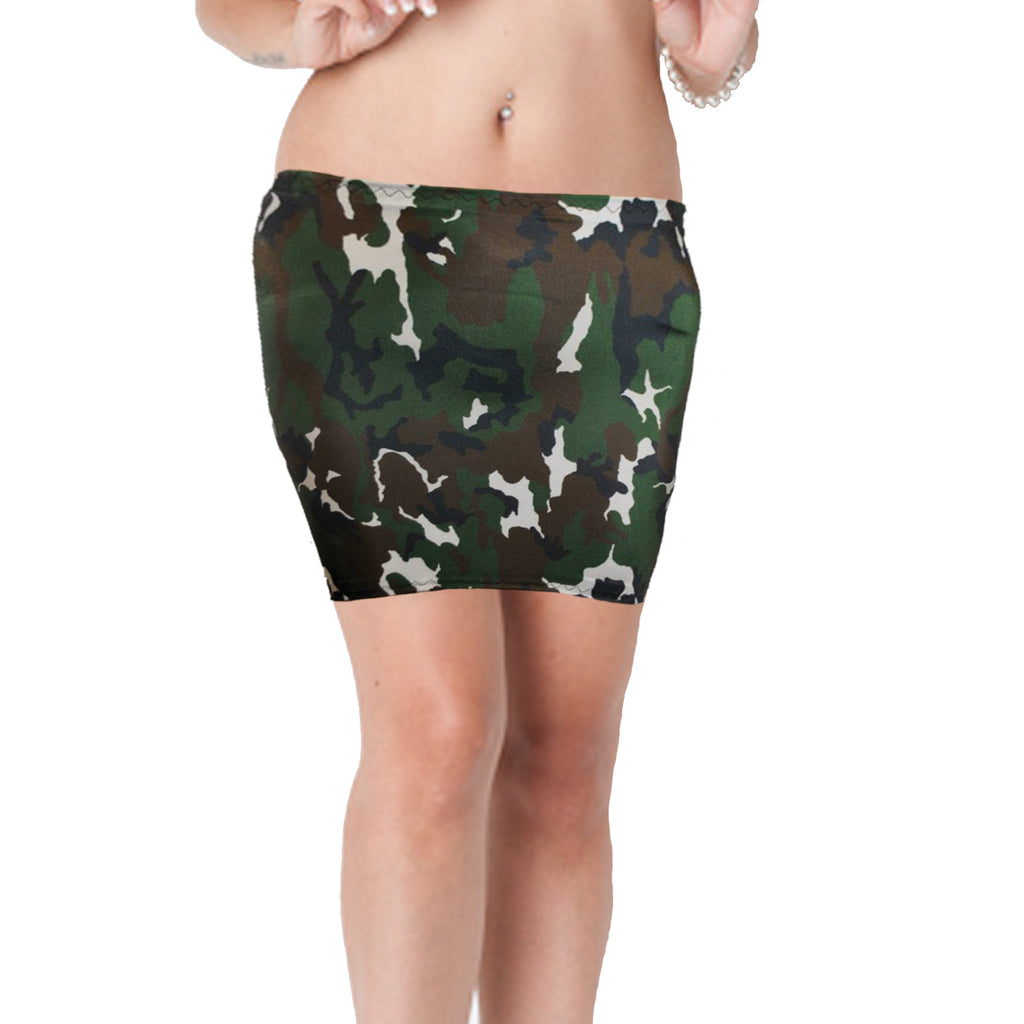 S63 - Green Brown Black White Army Camo Lycra Mini Skirt (12-13 Inch Length)