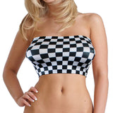 B145 - Black and White Checkered Flag Chess Board Lycra Boob Tube Top