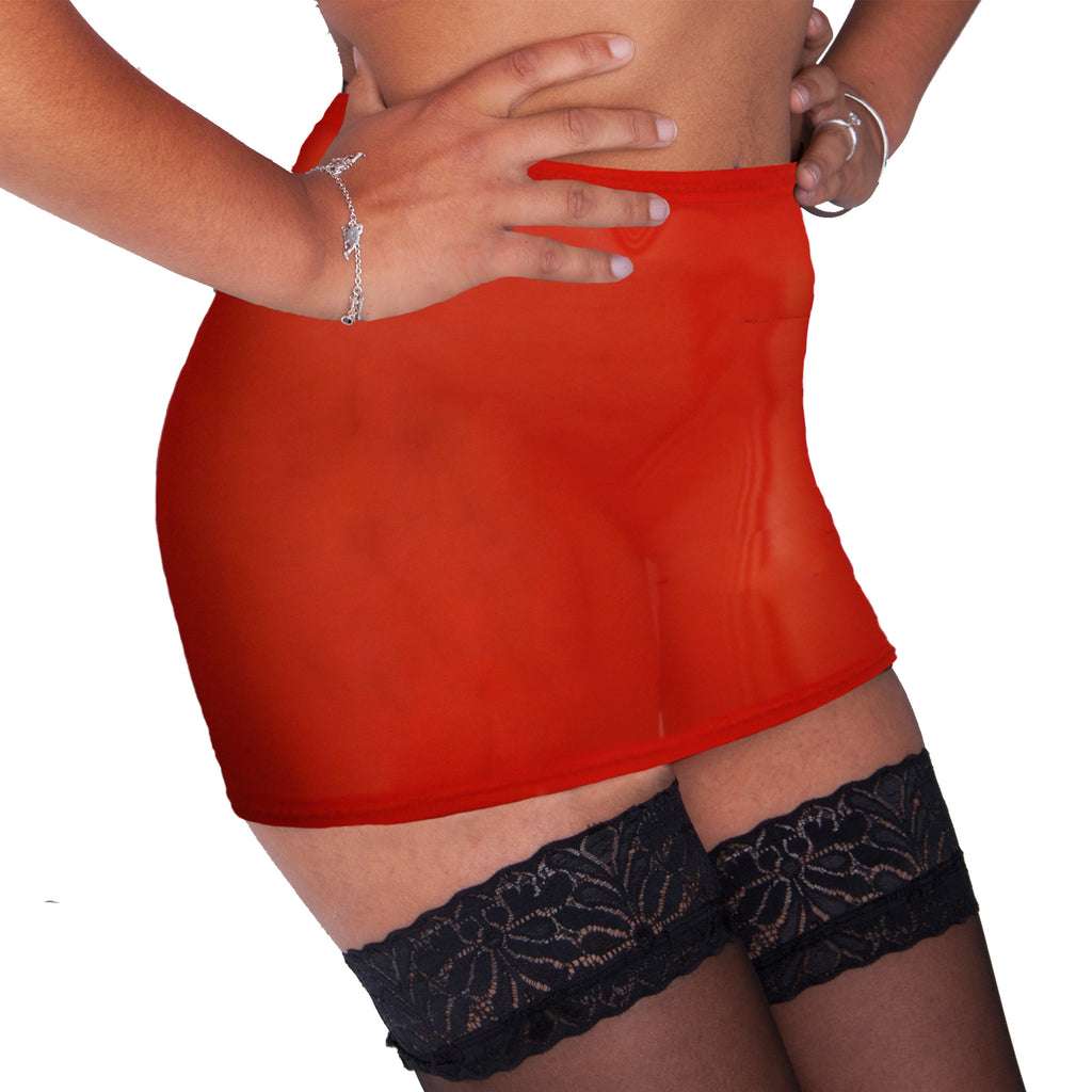 S13 - Red Mesh Net Mini Skirt (12-13 Inch Length)