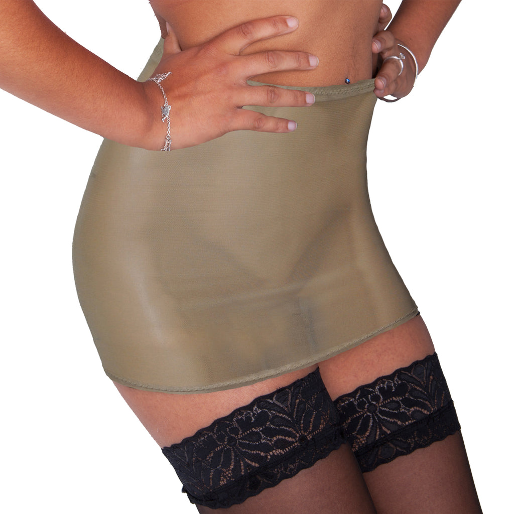 S130 - Beige Nude Net Mini Skirt (12-13 Inch Length)