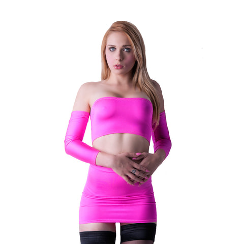 O09 - UV Pink Lycra Clubbing Outfit (Boobtube / Gauntlet / Skirt (12-13 Inch Length))
