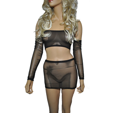 O20 - Black Net Clubbing Outfit (Boobtube / Gauntlet / Skirt (12-13 Inch Length))