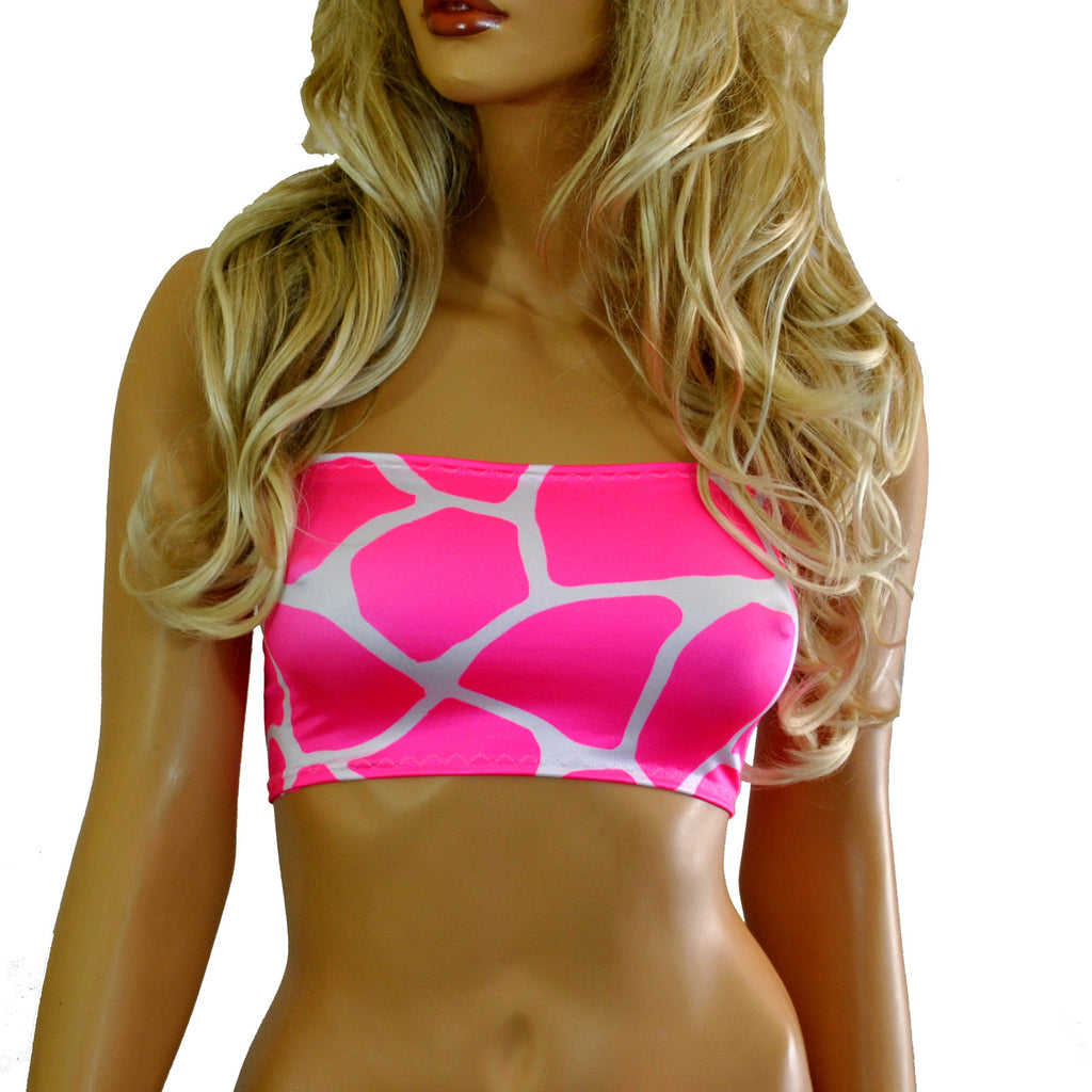 B141 - Pink & White Giraffe Animal Print Lycra Boob Tube Top