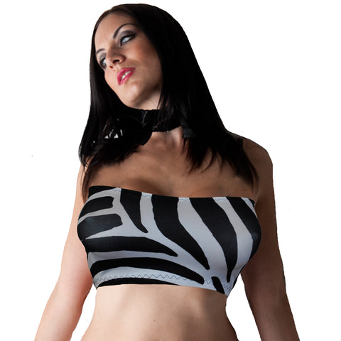 B143 -  Black & White Zebra Animal Print Lycra Boob Tube Top