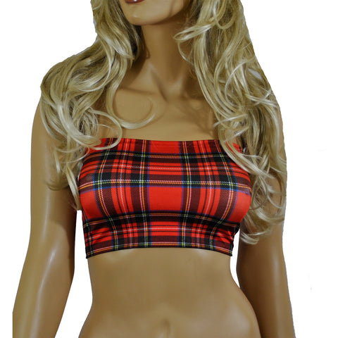 B152 - Red Royal Stewart Tartan Lycra Boob Tube Top