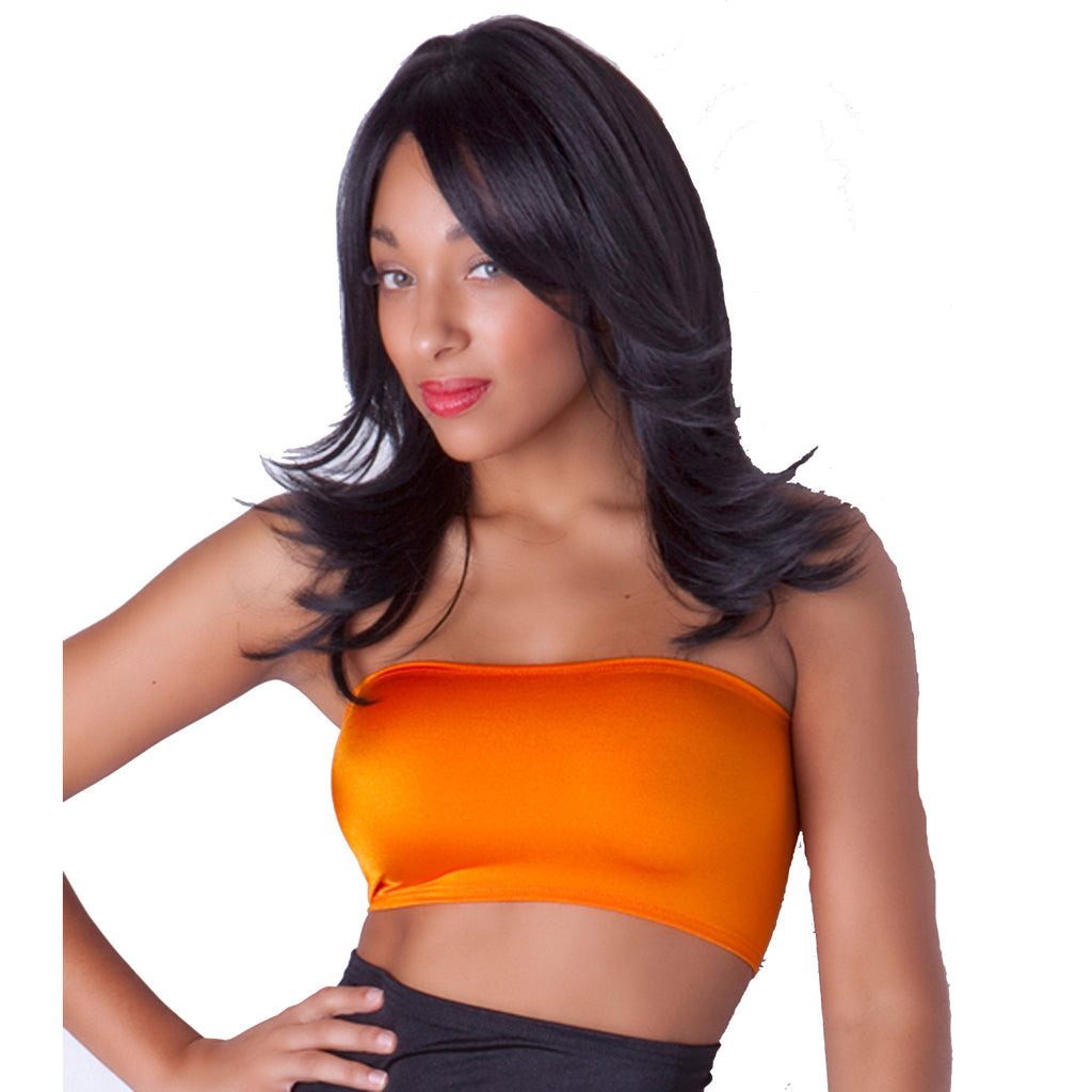 B36 - Tangerine Orange Spandex Lycra Boob Tube Top