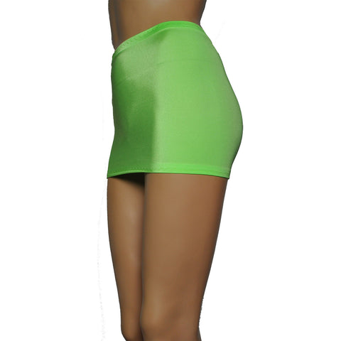 CS07 - UV Green Lycra Micro Mini Skirt (9-10 Inch Length)