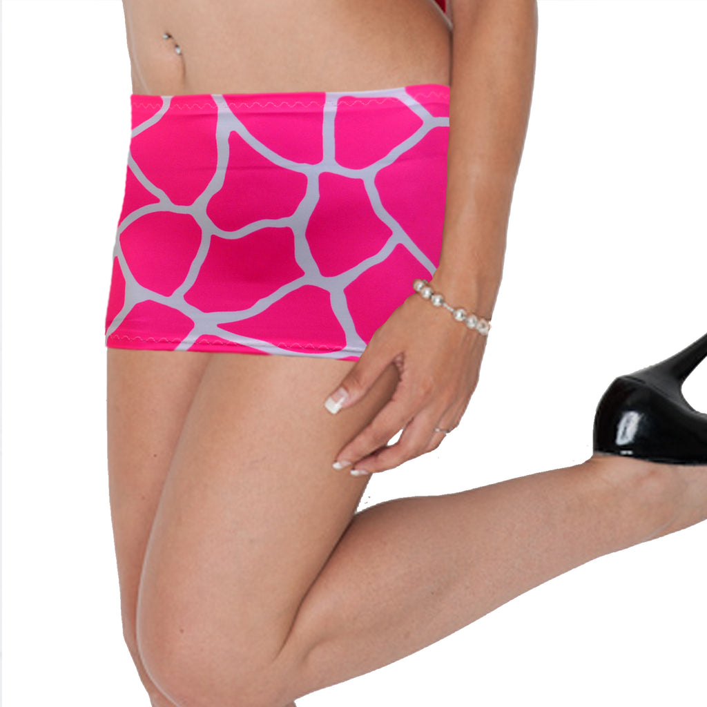 CS141 - UV Pink & White Giraffe Animal Print Lycra Micro Mini Skirt (9-10 Inch Length)