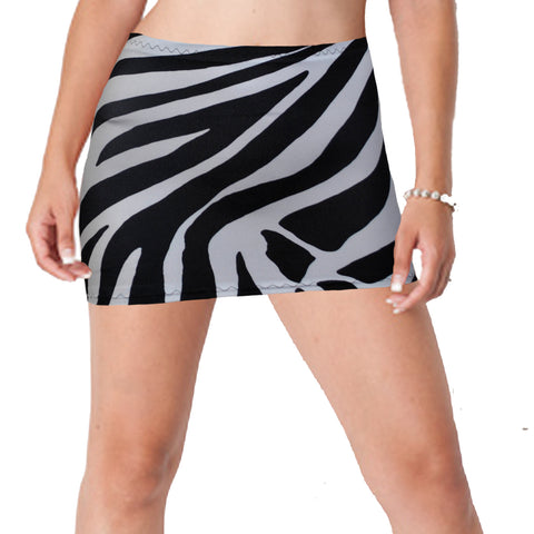 CS143 - Black & White Zebra Animal Print Lycra Micro Mini Skirt (9-10 Inch Length)