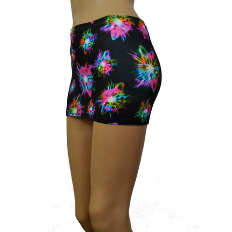 CS144 - Black UV Exploding Star Lycra Micro Mini Skirt (9-10 Inch Length)