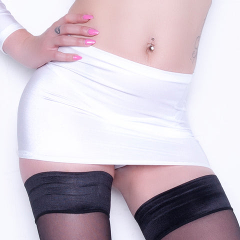 CS01 - White Lycra Micro Mini Skirt (9-10 Inch Length)